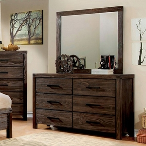Item # 276DR Rustic Brown Dresser - Style Rustic<br> Color/Finish Wire-brushed rustic brown<br> Material Solid wood, others, wood veneer<br> Hardware Bronze bar pull<br> Product Dimension Dresser 58