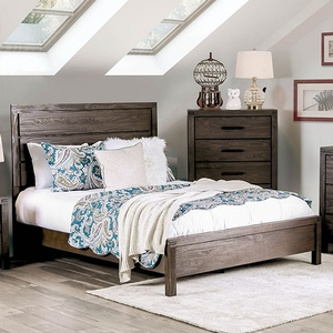269T Rustic Brown Twin Bed - Style Transitional<br> Color/Finish Wire-Brushed Rustic Brown, Material Solid wood, others, wood veneer<br> Product Dimension Twin Bed 81 1/2