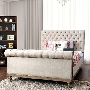 1178FB Full Bed  - Style Transitional<br> Color/Finish Beige, rustic natural tone<br> Material Linen-like fabric, metal, solid wood, others. Frame Finish Rustic natural tone<br> Upholstery Color Beige<br> Product Dimension Full Bed 90 1/4