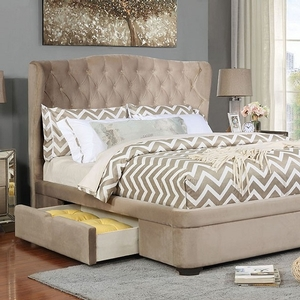 1180FB Full Bed - Style Transitional<br> Color/Finish Taupe. Upholstery Color Taupe<br> Material Solid wood, velvet-like fabric, wood veneer<br> Frame Finish Espresso<br> Product Dimension Full Bed 84 1/8