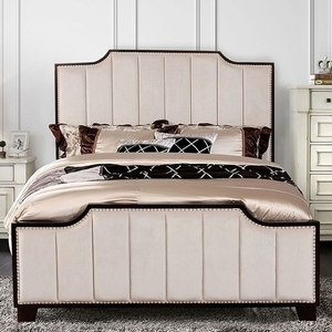 1179FB Full Bed  - Style Transitional<br> Color/Finish Beige. Material Fabric, others, solid wood, wood veneer<br> Frame Finish Black. Upholstery Color Beige<br> Product Dimension<br> Full Bed 82 1/2