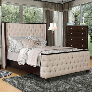1177FB Full Bed  - Style Contemporary<br> Color/Finish Beige. Upholstery Color Beige<br> Material Linen, solid wood<br> Frame Finish Espresso<br> Product Dimension<br> Full Bed 81 1/2