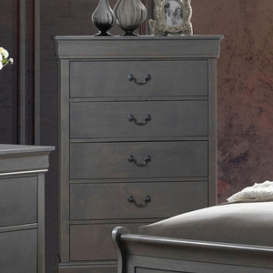 Item # 317CH Gray Chest - Style Contemporary<br> Color/Finish Gray<br> Material Solid wood, wood veneer, others<br> Hardware Pewter hanging pulls<br> Product Dimension Chest 31 1/2