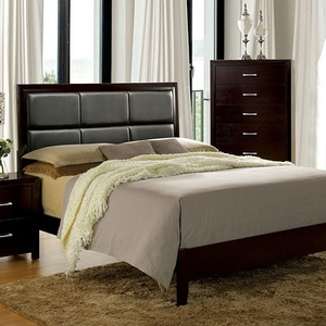 1175FB Full Bed in Espresso  - Style Contemporary<br> Color/Finish Espresso<br> Material Replicated wood, others, Upholstery Color Black<br> Product Dimension Full Bed 82 1/2