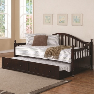 Item # 0221DB Traditionally-Styled Wood Daybed with Trundle - Twin daybed with an elegant curved back. Trundle included; features wood knob pulls<br><br>Link spring not required<br><br><b>Dimensions: </b>Width: 81 x Depth: 42.25 x Height: 38.5<br>