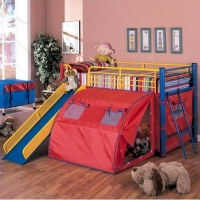 Item # 007TB Lofted Bed with Slide and Tent - Finish: Red, Blue and Yellow<br><br>Dimensions: 99.75W x 115.5D x 49.75H