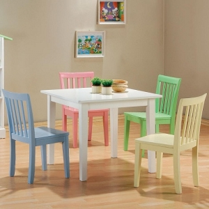 001KCHT Youth Table and Chair Set - Five piece youth dining set. White table with matching color chairs: White, Baby