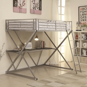 007MLB Full Workstation Loft Bed with Desk - *Twin Size Available*<br><BR>Metal workstation full loft bed finished in silver with full length guard rails and coordinating ladder. Desk below provides a lot of area to study or work.<br><Br>
