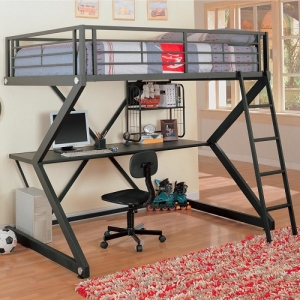 003MLB Workstation Full Loft Bed - This metal workstation full loft bed finished in metal is constructed from strong two inch metal tubing. It has full length guard rails with bilateral built-in ladders. Desk has keyboard tray and shelf for storage.<br><br>