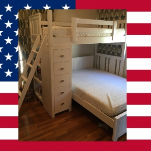 Item # US0036 Twin Modern bunk bed - Bottom Bed Optional<br><br>Made in USA<br><br>Durable & Super Strong<br><br>Available in 33 Different Color<br><br>Modifications Available<br><br>Different Knob & Drawer Front Options<br><br>Made to order<br><br>Available in Twin, Full & Queen Size