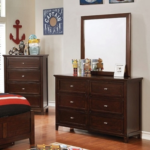 Item # 267DR Brown Cherry Dresser - Style Transitional<br> Color/Finish Brown Cherry<br> Materials Solid wood , wood veneer<br> Hardware Nickel<br> Length 47 5/8<br>Width 17<br>Height 34<br>Product Dimension<br>Dresser 47 5/8