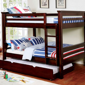 "Item # A0009FF Full/Full Bunk Bed in Dark Walnut - Finish: Dark Walnut<br><br>Slat Kit Included<br><br>*Trundle or Trundle/Drawers Optional<br><br>Available in Twin/Twin, Twin/Full & Twin XL/Queen Size<br><br>Dimensions: 82 1/4""L X 59 1/8""W X 65""H"