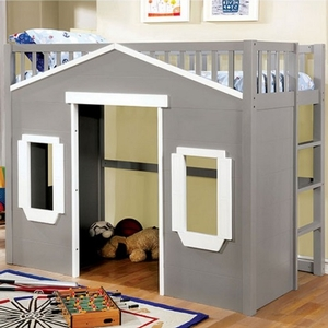 Item # 005 Loft Full House Loft Bed - Color/Finish: Gray<br><br>Mattress Ready<br><br>Dimensions: 79 7/8