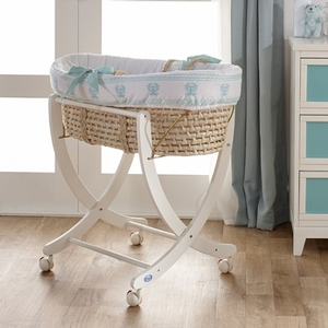 Mint Moses Basket - Available in Gray, Blue & Pink