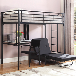 Item # MLB013 Twin Loft Bunk Bed with Futon Chair & Desk - Finish: Glossy Black<br><br>Dimensions: 42W x 78.5D x 69.25H