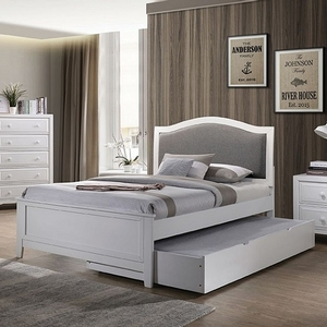 264T White Twin Bed - Style Transitional<br> Color/Finish White<br> Material Fabric, others, solid wood, paper veneers<br> Frame FInish White<br> Upholstery Color Grey<br> Product Dimensions Twin Bed 79 1/2