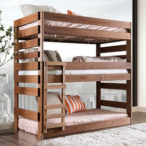 Triple Decker Bunk Bed - Finish: Mahogany<br><br>Style: Rustic<br><br>Foundation Required<br><br>Dimensions: