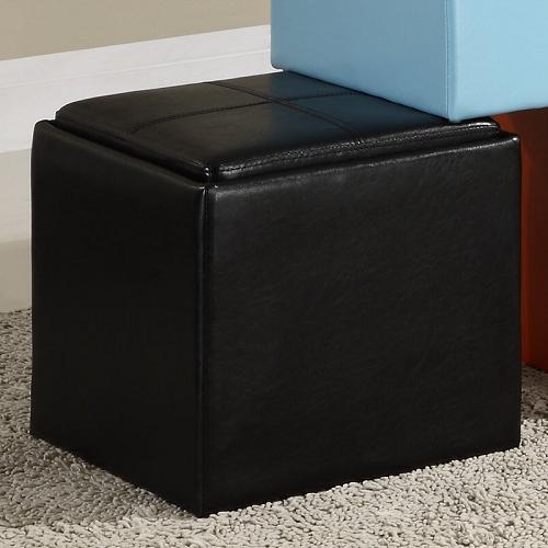 Item # 009SB Storage Cube Ottoman in Black