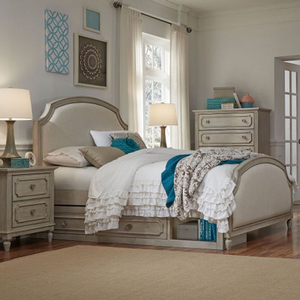 Item # 001Q Upholstered Panel Queen Bed - Finish: Vintage Taupe<br><br>Available in Full & Twin Sizes<br><br>Dimensions: 64W x 87D x 56H