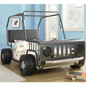 Item # 001TB Jeep Twin Bed - Finish: Black/ Nickel<br><br>Dimensions: 56W x 91.25D x 52.25H