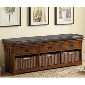 Item # 002SB Storage Bench - Finish: Brown<br><br>Upholstery: Leatherette<br><br>Leg Finish<br><br>Medium Brown<br><br>Dimensions: 60W x 15.25D x 23H
