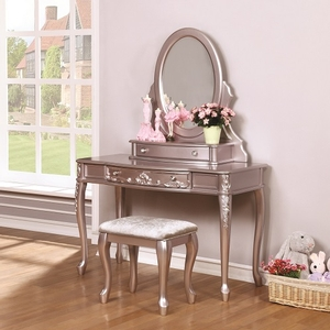 Item # 002V Metallic Lilac Vanity Desk - Finish: Metallic Lilac<br><br>Available in White<br><br>Vanity Stool & Mirror Sold Separately<br><br>Dimensions: 47.5W x 19.25D x 30H