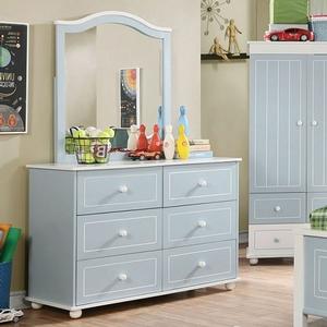 Item # 004DR Cottage Style 6 Drawer Dresser - Finish: Blue/White<br><br>Dimensions: 44