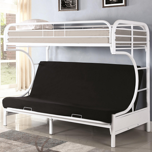 Item # 001TFB Twin/Futon Bunk Bed - Finish: White<br><br>Available in Black<br><br>**Futon Pad Sold Separately<br><br>Dimensions: 78.75