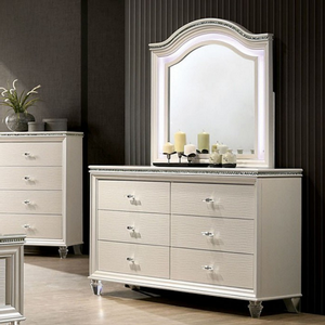 Item # 005DR 6 Drawer Dresser - Finish: Pearl White<br><br>Mirror sold separately<br><br>Dimensions: 54 1/2W x 16 1/2D x 34H