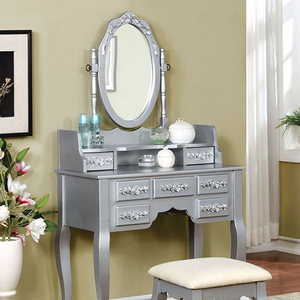 Item # 005V Vanity Set w/ Floral Accents in Silver - Finish: Silver<br><br>Available in White or Rose Gold Finish<br><br>