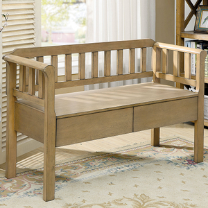 Item # 005SB Storage Bench w/ 2 Drawers - Finish: Weathered Natural Tone<br><br>Available in Dark Walnut Finish<br><br>Dimensions: 49 1/2W x 18D x 30 1/2H<br><br>Seat DP: 17 1/4 , Seat HT: 18