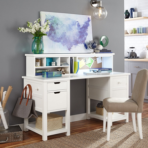 Item # 006HC Desk Hutch - Finish: Natural White Painted<br><br>Desk sold separately<br><br>Desk chair sold separately<br><br>Dimensions: 58W x 10D x 12H