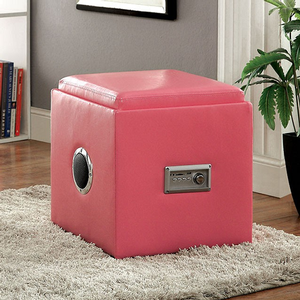 Item # 007SB Storage Ottoman w/ Bluetooth Speakers - Finish: Pink<br><br>Available in White, Green, Blue, Black & Red Finish<br><br>Dimensions: 16 1/4W x 16 1/4