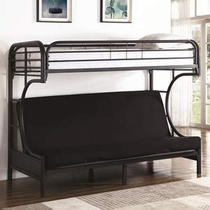 Item # 008TFB Twin/Futon Bunk Bed - Finish: Black<br><br>Available in White<br><br>Slat Kit Included<br><br>Dimensions: 78.75