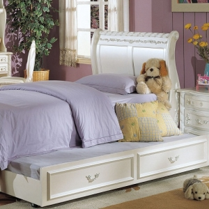0063TR Trundle - Finish: Pearl White Gold Brush Accent<br><br>Dimensions: 76