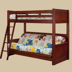 Item # 0101DP Twin Bunk with Futon Bed in Dark Pecan