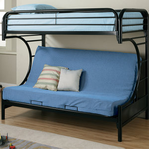 Item # 010MLB Twin Over Full Futon Bunk Bed - Finish: Glossy Black<br><br>Available in White<br><br>Dimensions: 41.75W x 78.5D x 64.5H