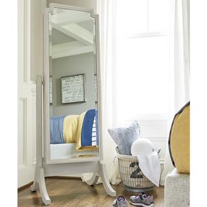 Item # 013M Cheval Storage Mirror - Finish: Alabaster<br><br>Dimensions: 24