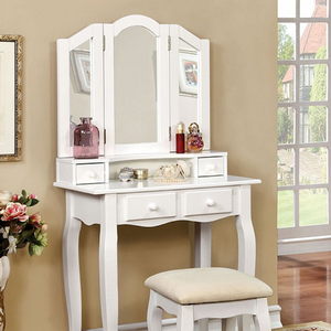 Item # 013V Elegant Vanity Set in White - Finish: White<br><br>Available in Pink<br><br>