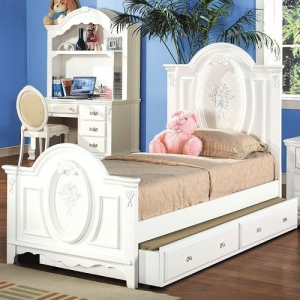 Item # 0909FB Antique Style Floral Full Panel Bed - Finish: White<br><br>Available in Twin Size<br><br>*Trundle Sold Separately*<br><br>Box Spring Required<br><br>Dimensions: 81