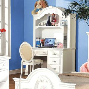 Item # 018HC Antique Style Floral Desk Hutch - Finish: White<br><br>Desk Sold Separately<br><br>Dimensions: 52