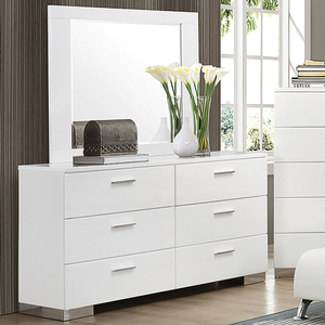 Item # 019DRS - Finish: Glossy White<br><br>Dimensions: 63W x 17.75D x 34H