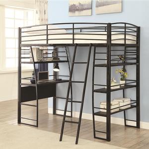 Item # 020MLB Metal Loft Bed in Black - Finish: Black<br><br>Slat Kit Included<br><br>Available in Silver<br><br>Dimensions: 78