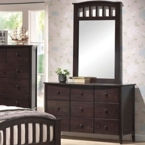 Item # 046DR Dresser - Finish: Dark Walnut<br><br>Available in Maple & White Finish<br><br>*Mirror sold separately*<br><br>Dimensions: 49