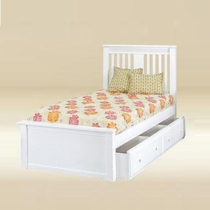 Item # 0511 Boston Full Bed in White - *Underneath Storage Sold Separately*