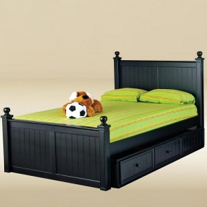 Item # 0505 Full Size Bed in Black - *Underneath Storage Sold Separately*