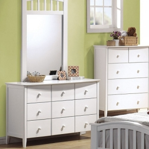 Item # 048DR Dresser - Finish: White<br><br>Available in Maple & Dark Walnut Finish<br><br>*Mirror Sold Separately* <br><br>Dimensions: 49