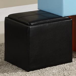 Item # 009SB Storage Cube Ottoman in Black - Finish: Black Bi-Cast Vinyl<br><br>Available in Blue, Brown, Green, Red, Orange & White Bi-Cast Vinyl<br><br>Dimensions: 17 x 17 x 17.5H
