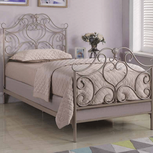 Item # A0005B - Twin Metal Bed<br>Finish: Rose Gold<br>Foundation Required<br>Dimensions: 43.25W x 78.50D x 51.50H