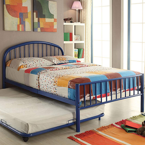 Item # A0007B - Twin Iron Bed<br>Finish: Blue<br>Available in Black, White & Silver<br>Dimensions: 79 x 39 x 33H